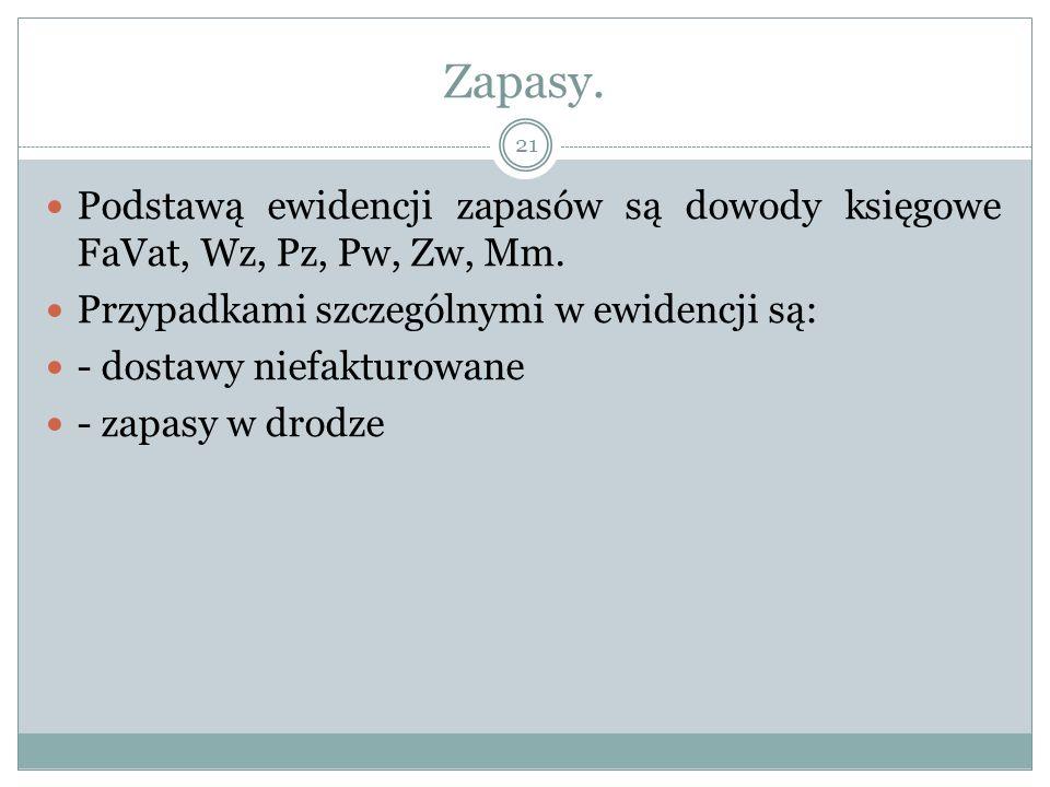 Zapasy. Podstawą ewidencji zapasów są dowody księgowe FaVat, Wz, Pz, Pw, Zw, Mm. Przypadkami szczególnymi w ewidencji są: