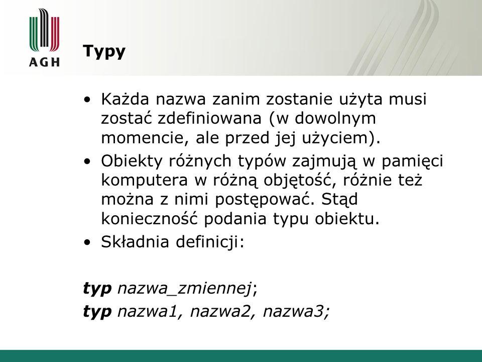 Typy Każda nazwa zanim zostanie użyta musi zostać zdefiniowana (w dowolnym momencie, ale przed jej użyciem).