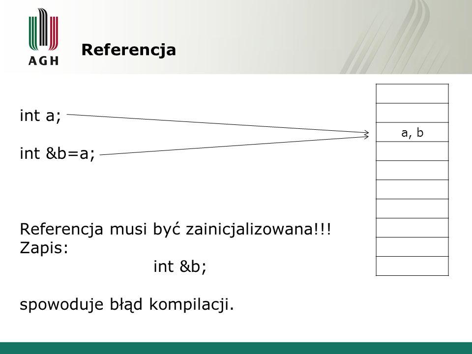 Referencja musi być zainicjalizowana!!! Zapis: int &b;