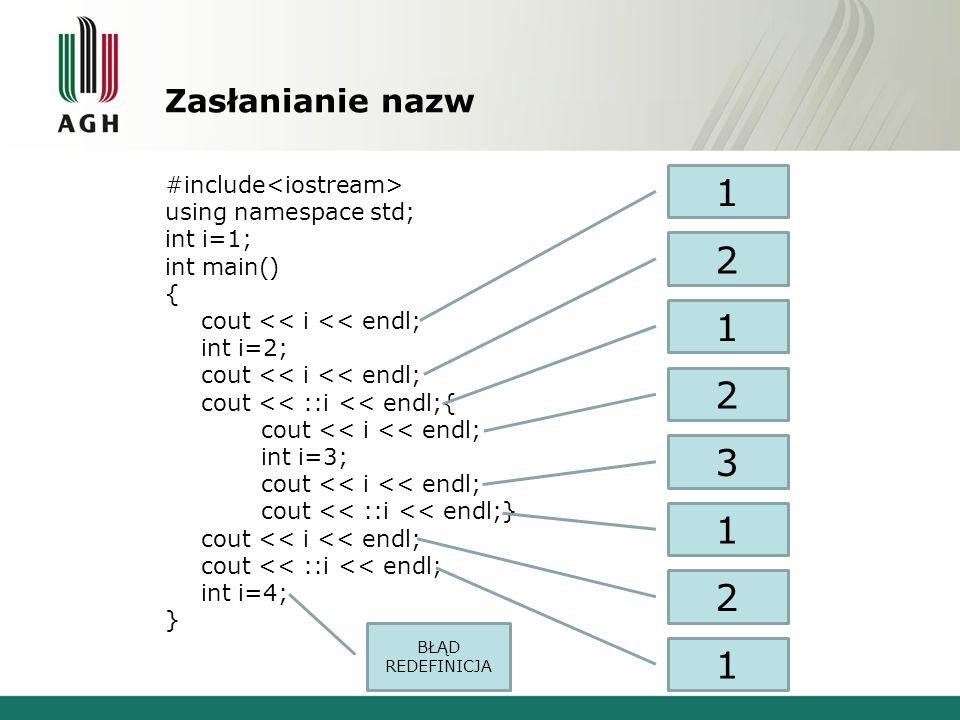 1 2 1 2 3 1 2 1 Zasłanianie nazw #include<iostream>
