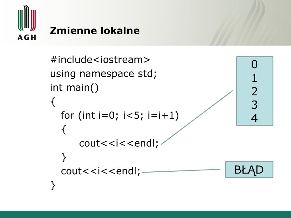 Zmienne lokalne #include<iostream> using namespace std; int main() { for (int i=0; i<5; i=i+1) cout<<i<<endl; }