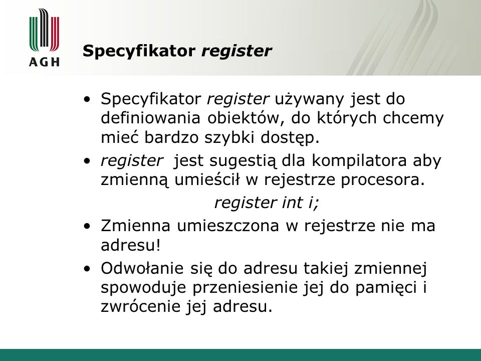 Specyfikator register
