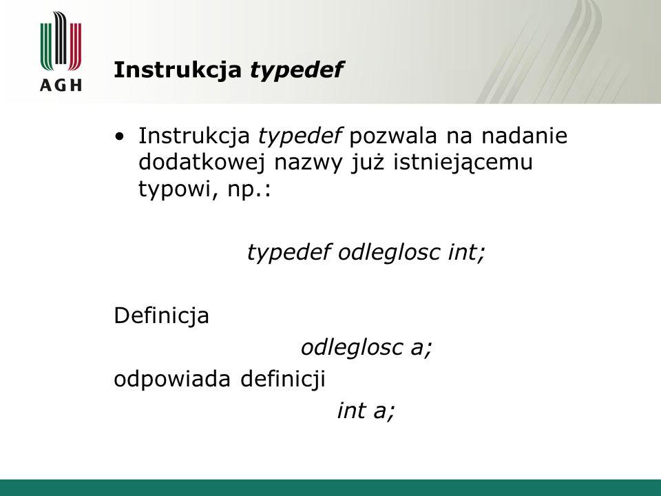 typedef odleglosc int;