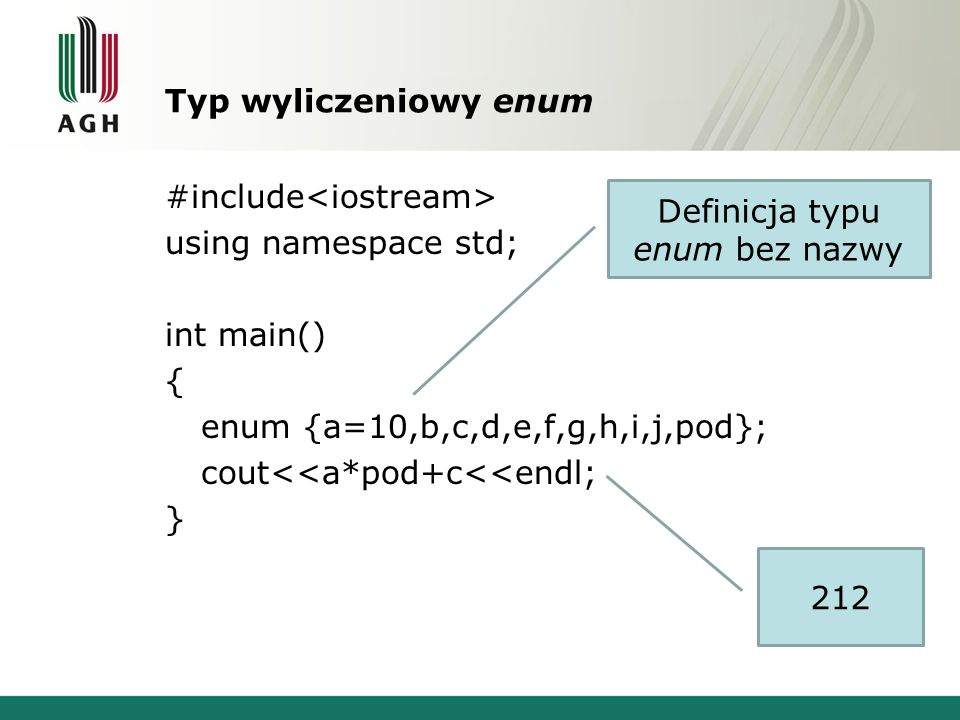 Definicja typu enum bez nazwy