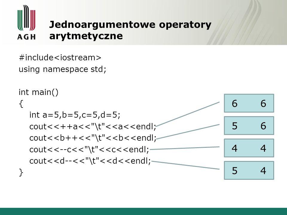 Jednoargumentowe operatory arytmetyczne