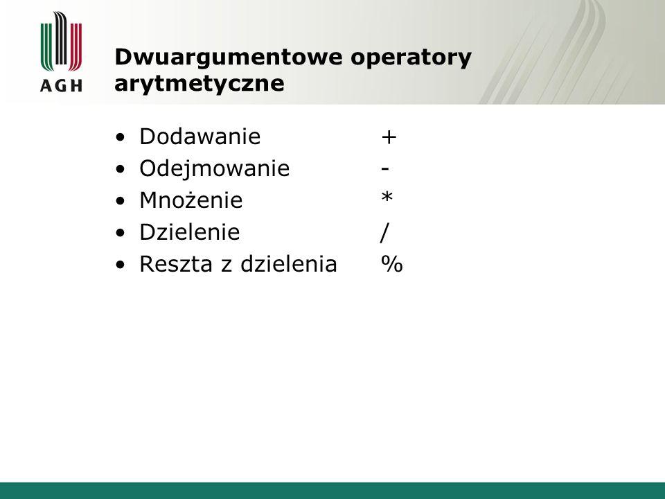 Dwuargumentowe operatory arytmetyczne