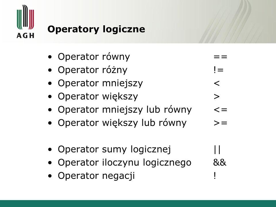 Operatory logiczne Operator równy == Operator różny != Operator mniejszy < Operator większy >