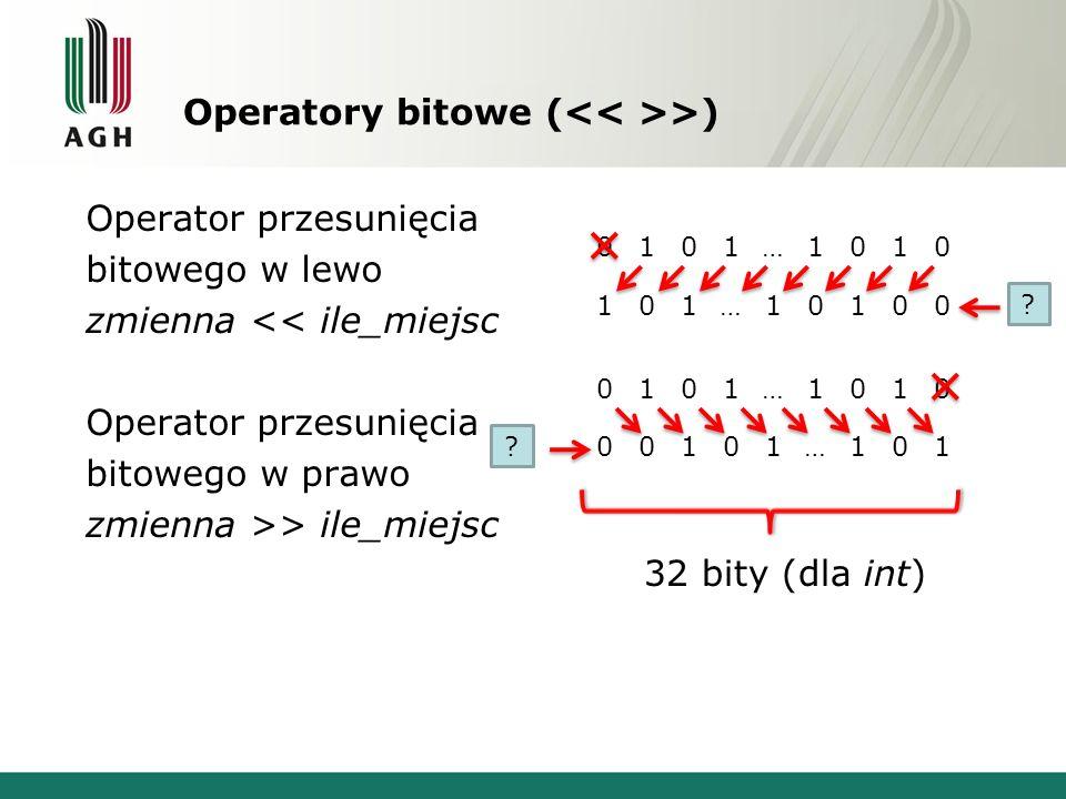 Operatory bitowe (<< >>)