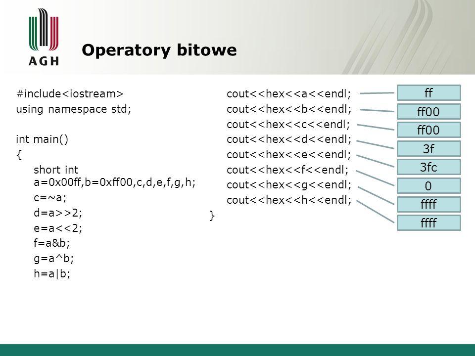 Operatory bitowe ff ff00 ff00 3f 3fc ffff ffff