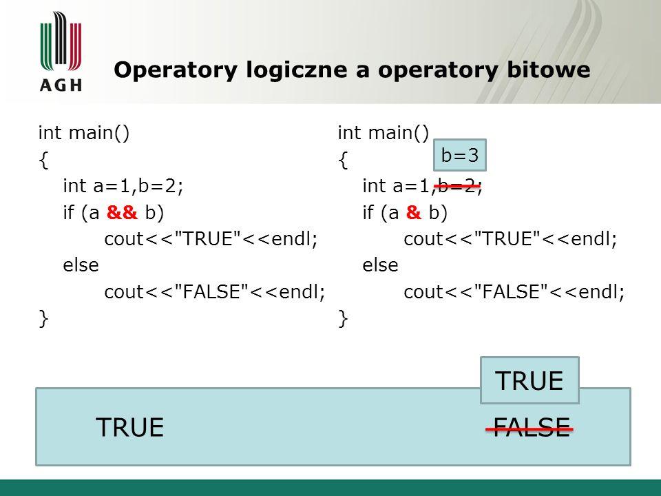 Operatory logiczne a operatory bitowe