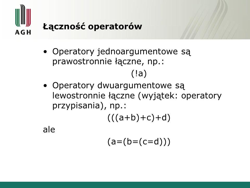 Łączność operatorów Operatory jednoargumentowe są prawostronnie łączne, np.: (!a)