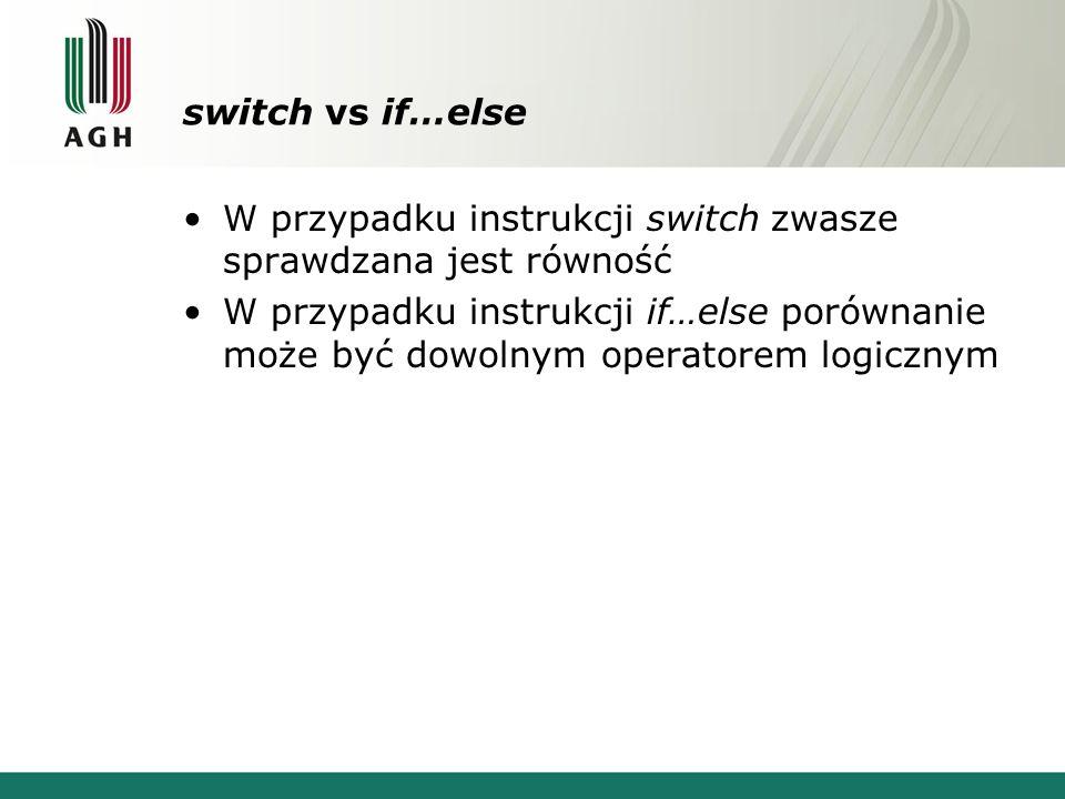 switch vs if…else W przypadku instrukcji switch zwasze sprawdzana jest równość.