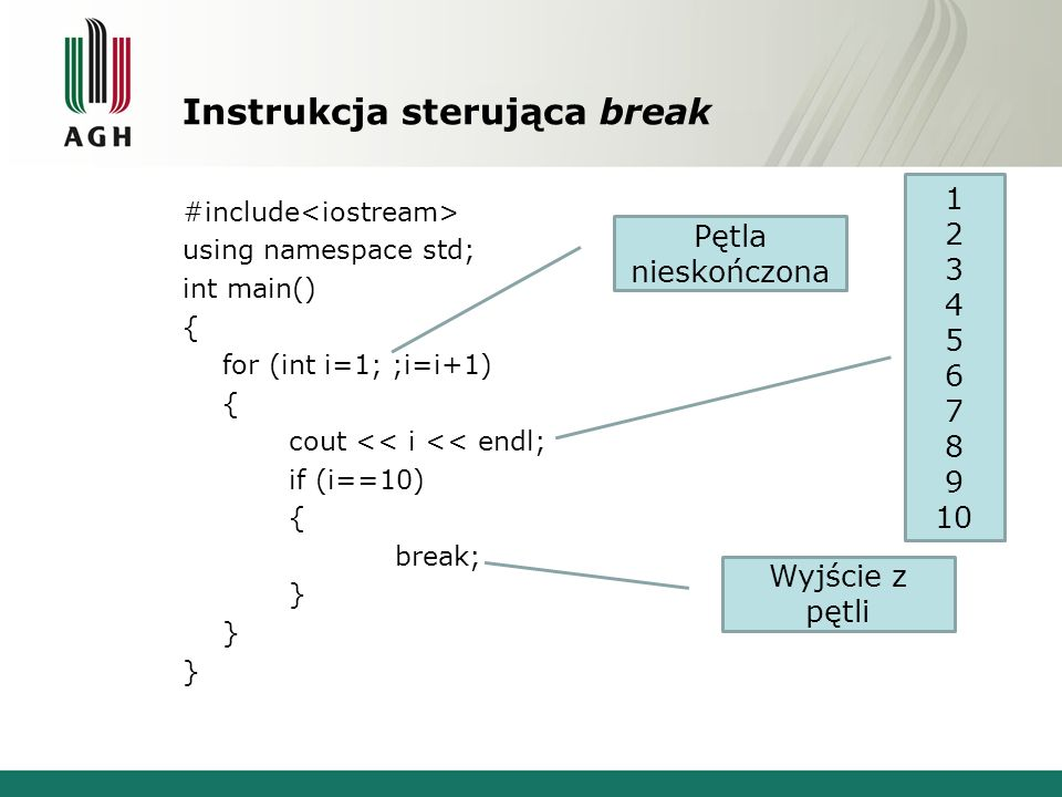 Instrukcja sterująca break