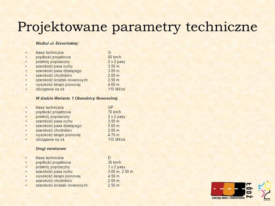 Projektowane parametry techniczne