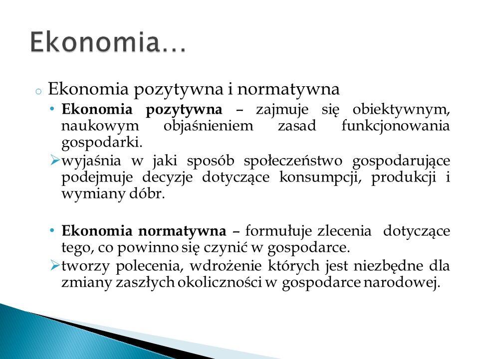 Ekonomia… Ekonomia pozytywna i normatywna