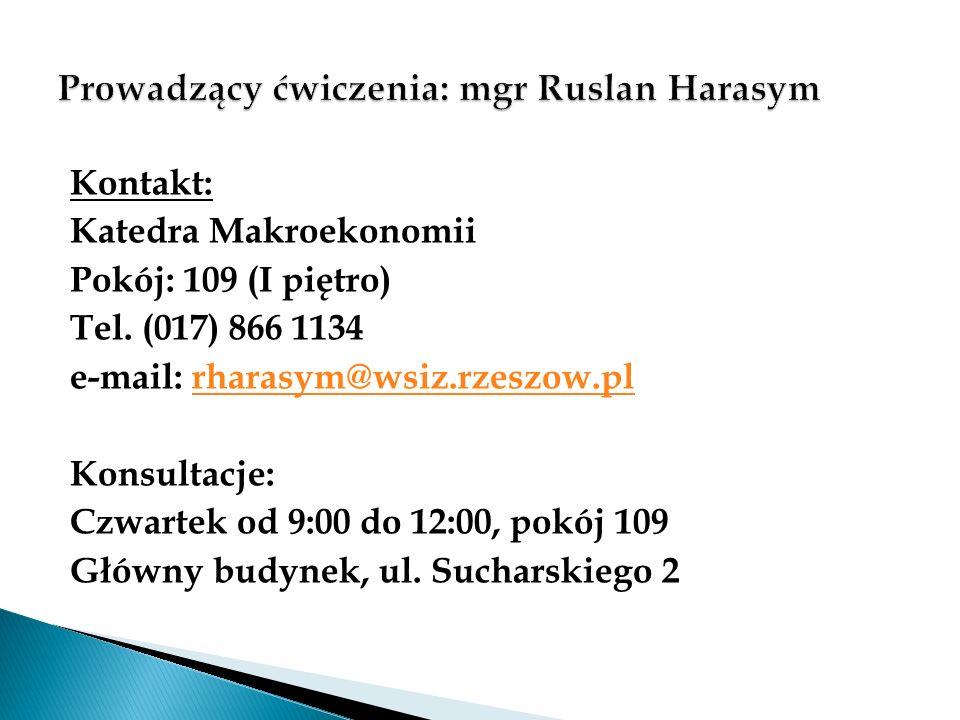 Prowadzący ćwiczenia: mgr Ruslan Harasym