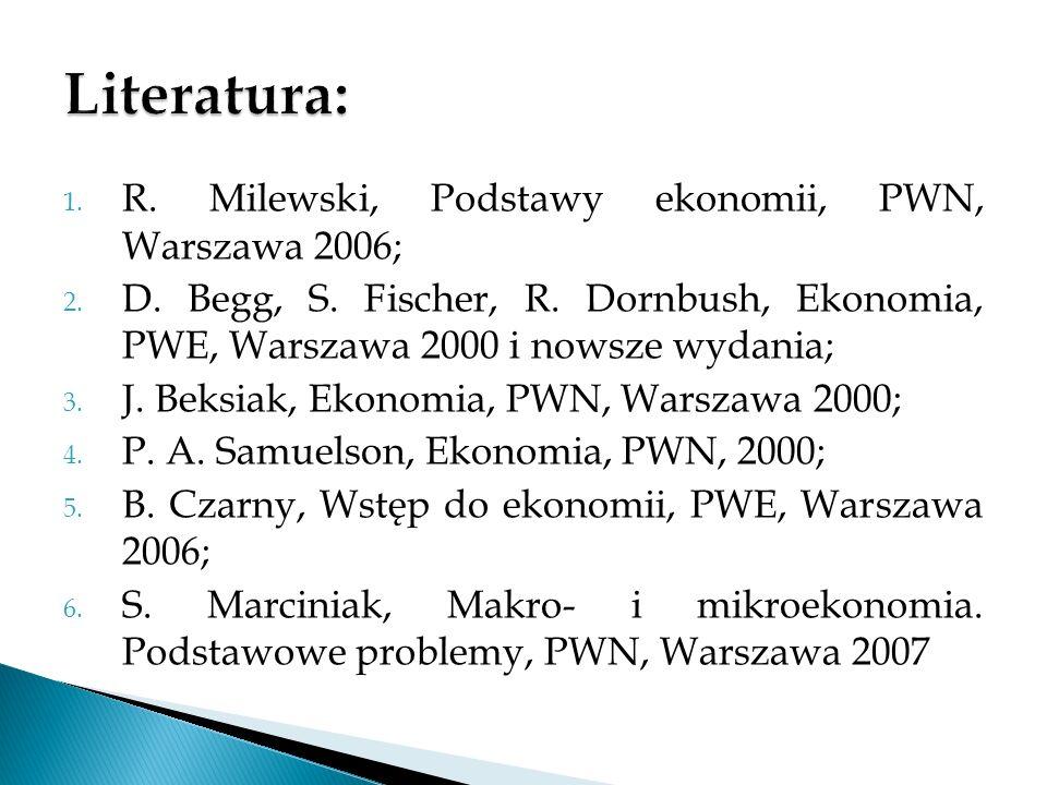 Literatura: R. Milewski, Podstawy ekonomii, PWN, Warszawa 2006;