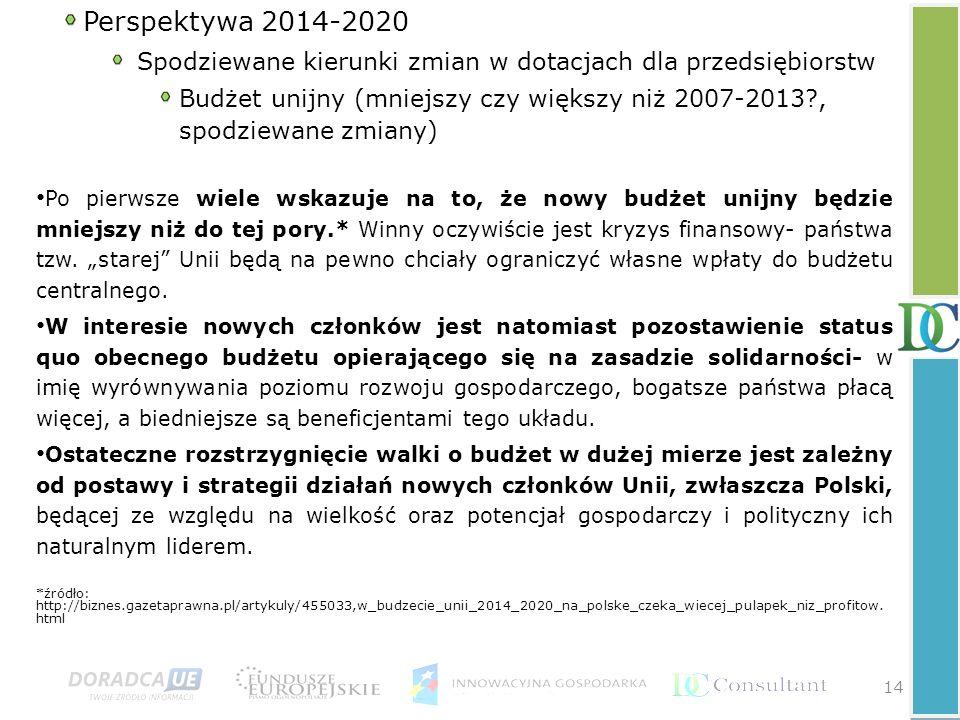 Perspektywa 2014-2020 Spodziewane kierunki zmian w dotacjach dla przedsiębiorstw.