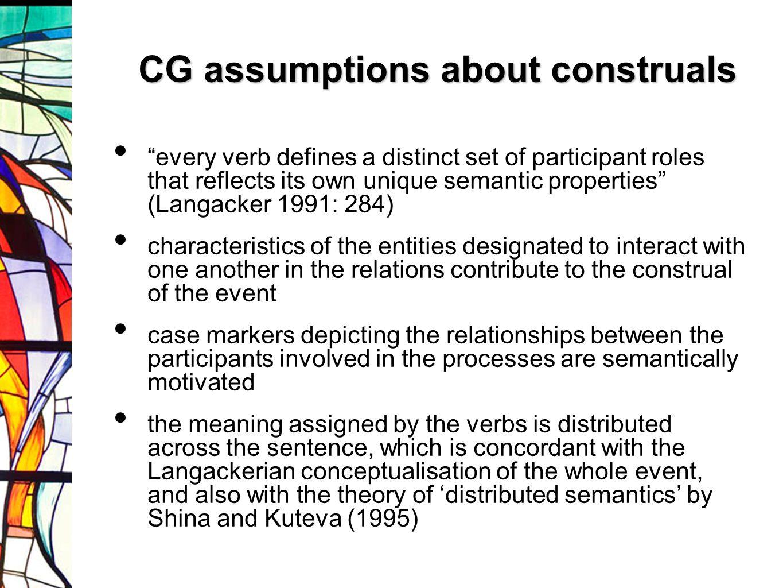 CG assumptions about construals