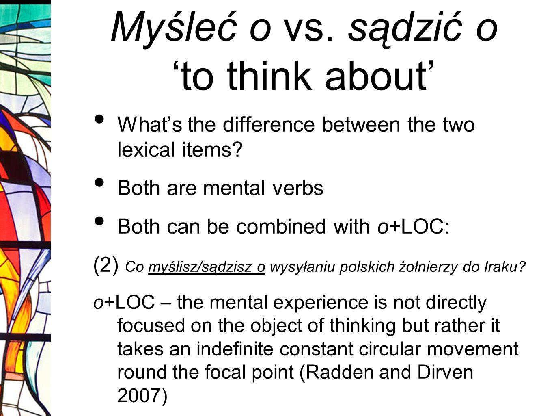 Myśleć o vs. sądzić o 'to think about'