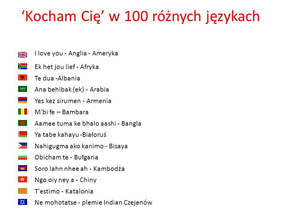 'Kocham Cię' w 100 różnych językach