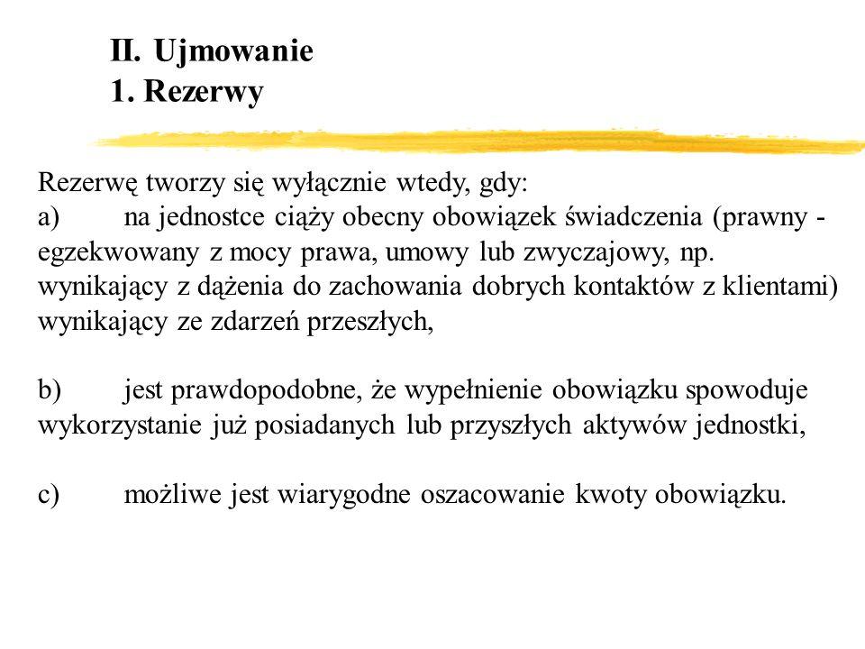 II. Ujmowanie 1. Rezerwy Rezerwę tworzy się wyłącznie wtedy, gdy: