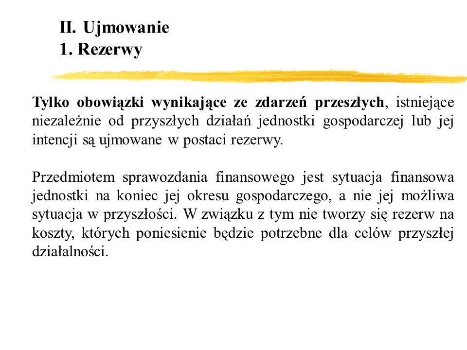 II. Ujmowanie 1. Rezerwy.