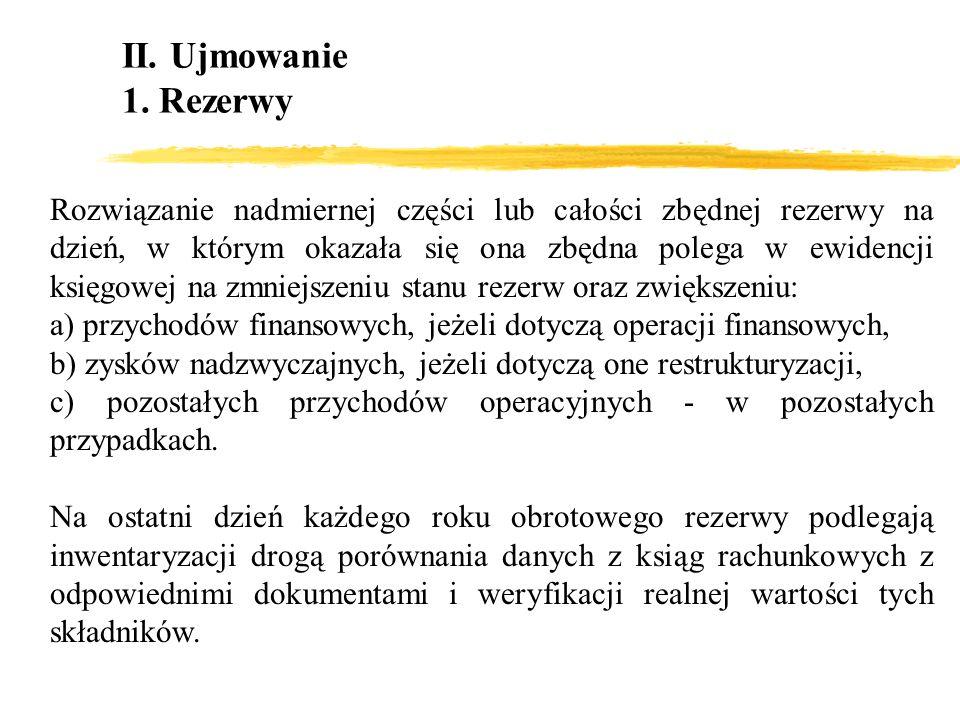 II. Ujmowanie1. Rezerwy.
