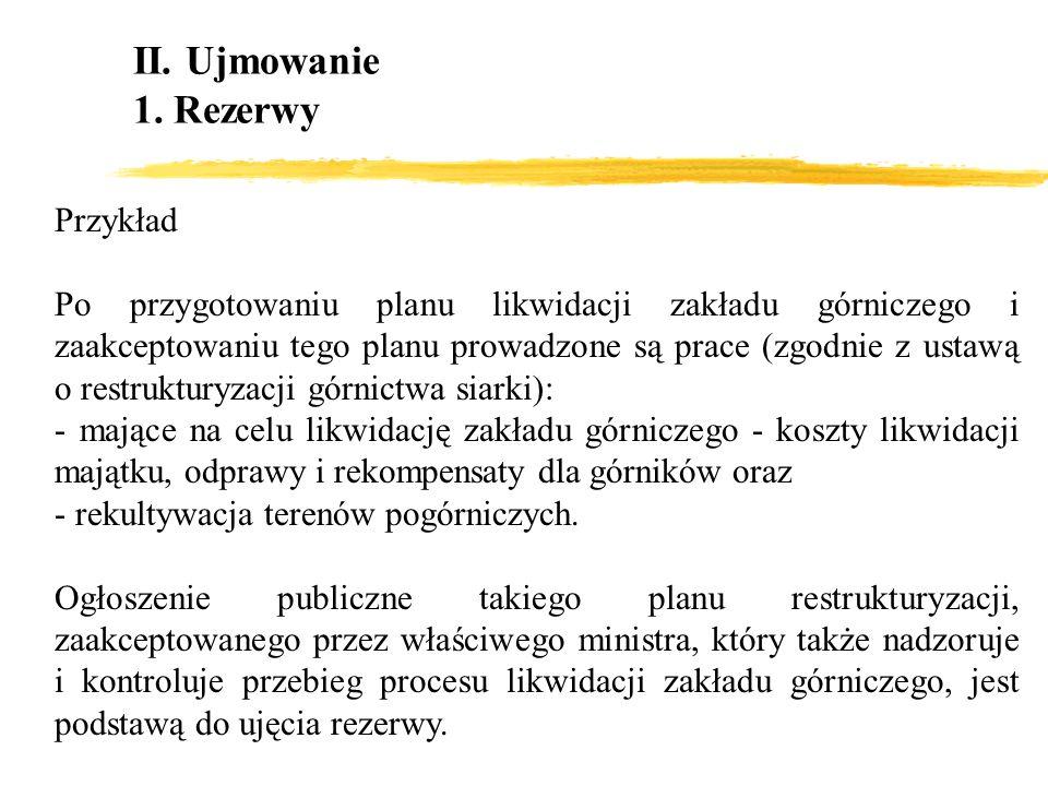 II. Ujmowanie 1. Rezerwy Przykład