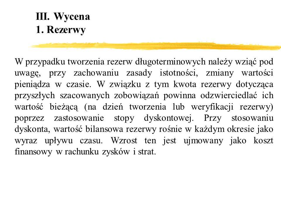 III. Wycena1. Rezerwy.
