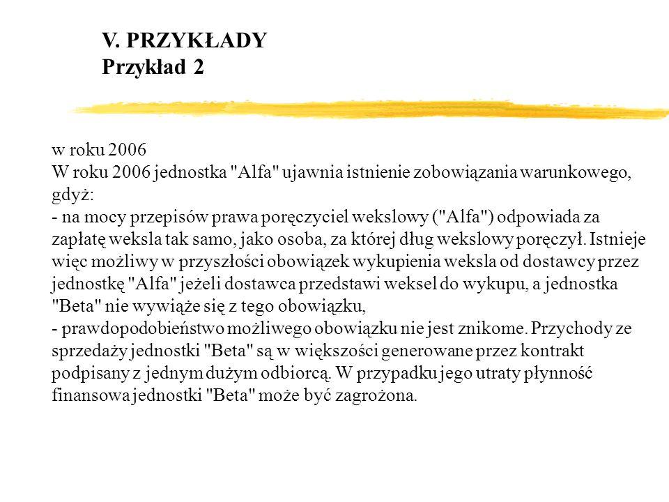 V. PRZYKŁADY Przykład 2 w roku 2006