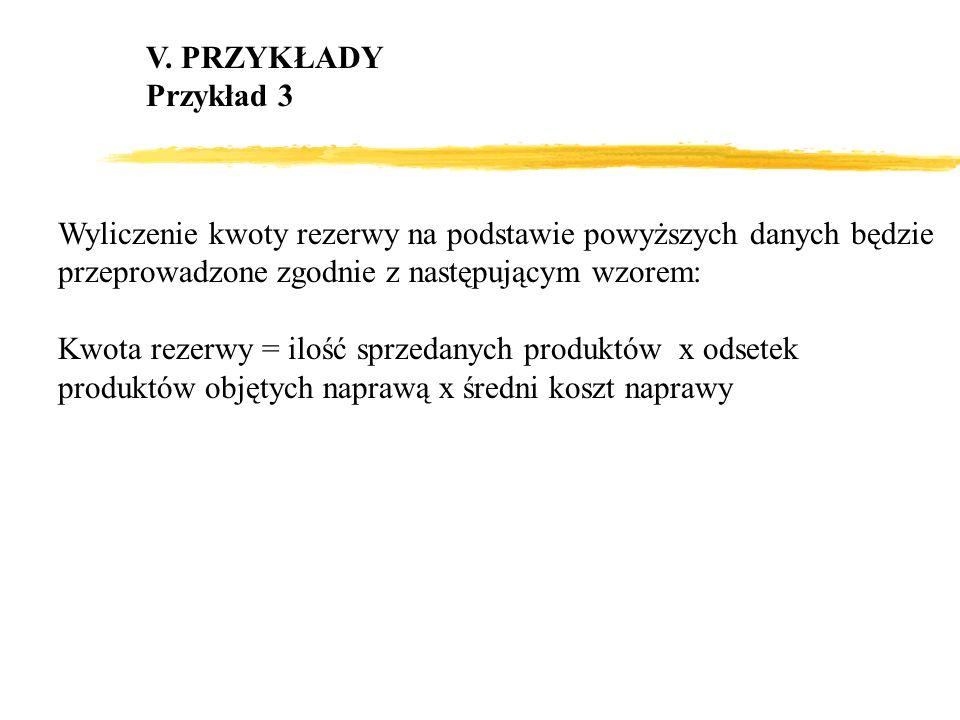 V. PRZYKŁADY Przykład 3. Wyliczenie kwoty rezerwy na podstawie powyższych danych będzie przeprowadzone zgodnie z następującym wzorem: