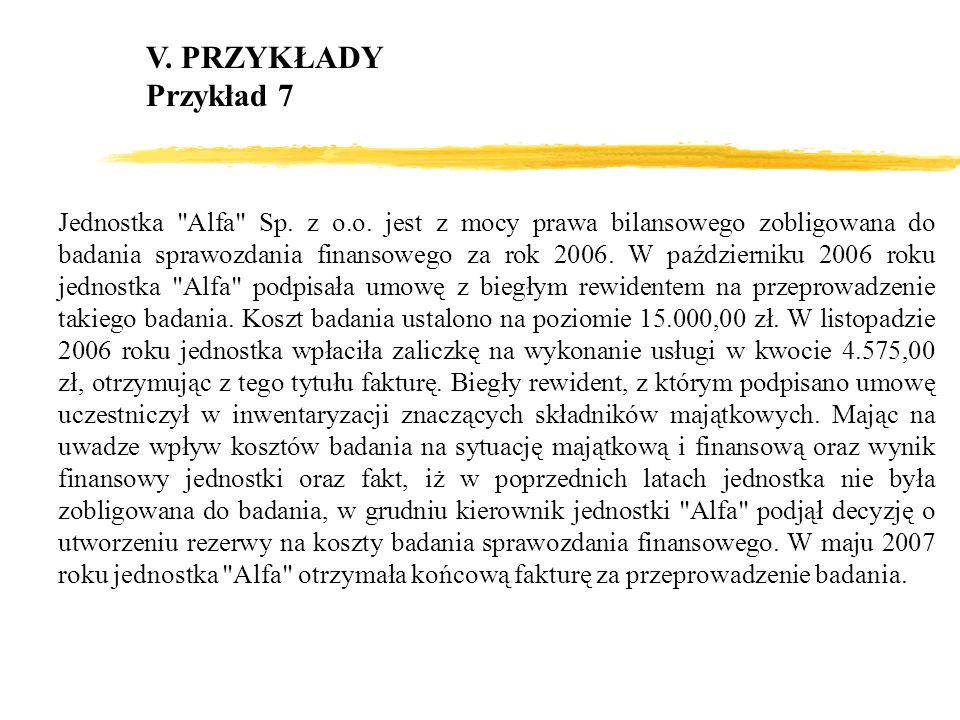 V. PRZYKŁADY Przykład 7.