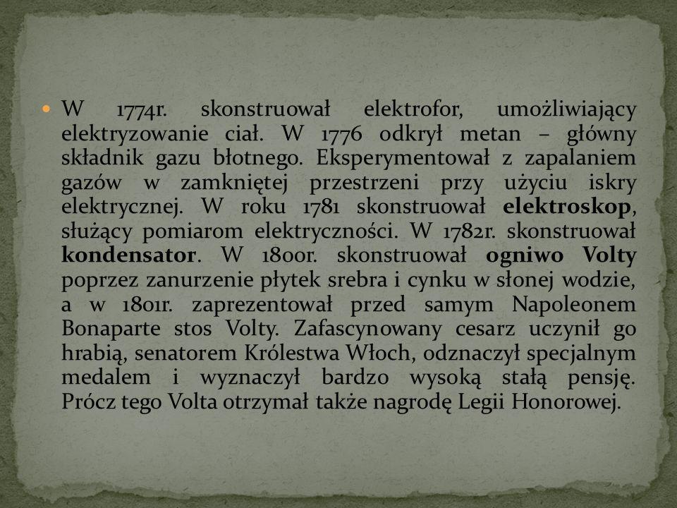 W 1774r. skonstruował elektrofor, umożliwiający elektryzowanie ciał