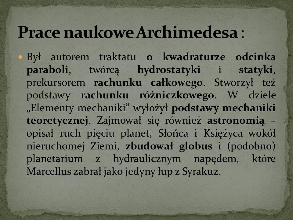 Prace naukowe Archimedesa :