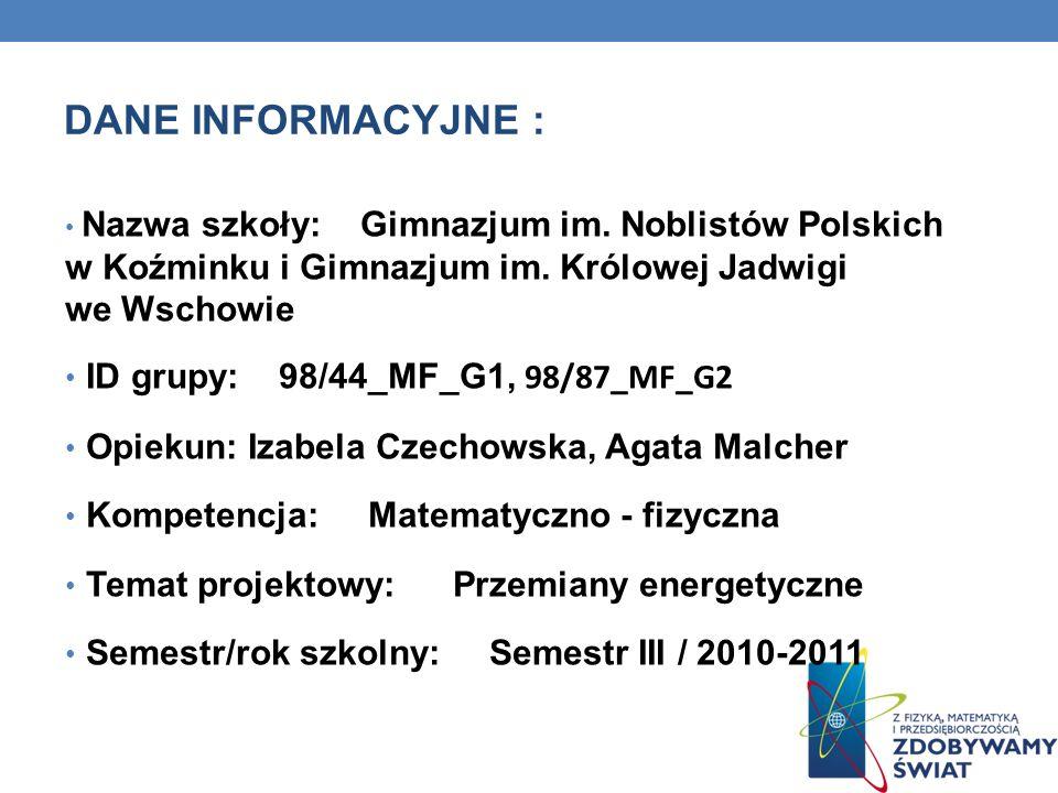 DANE INFORMACYJNE : ID grupy: 98/44_MF_G1, 98/87_MF_G2_g2