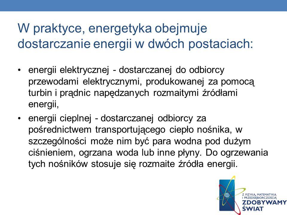 W praktyce, energetyka obejmuje dostarczanie energii w dwóch postaciach: