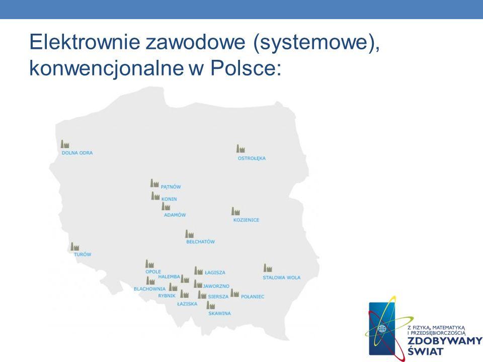 Elektrownie zawodowe (systemowe), konwencjonalne w Polsce: