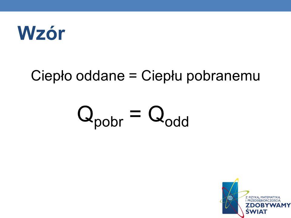Wzór Ciepło oddane = Ciepłu pobranemu Qpobr = Qodd