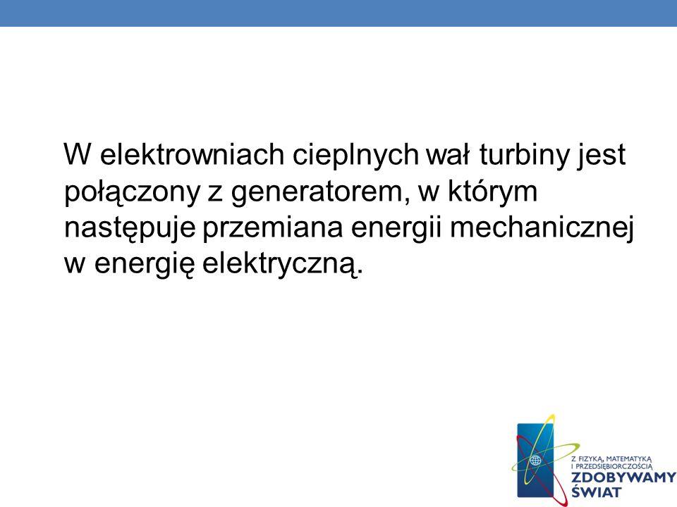 W elektrowniach cieplnych wał turbiny jest połączony z generatorem, w którym następuje przemiana energii mechanicznej w energię elektryczną.