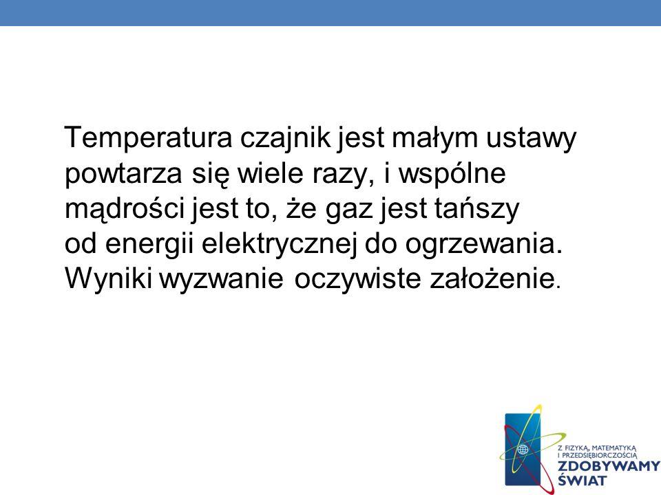 Temperatura czajnik jest małym ustawy powtarza się wiele razy, i wspólne mądrości jest to, że gaz jest tańszy od energii elektrycznej do ogrzewania.