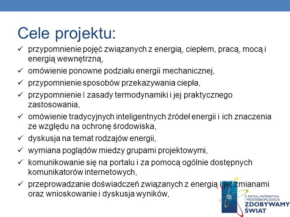 Cele projektu: przypomnienie pojęć związanych z energią, ciepłem, pracą, mocą i energią wewnętrzną,
