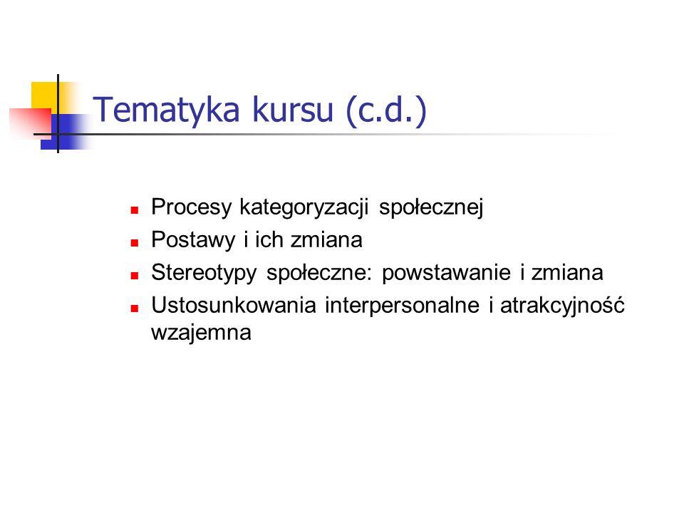 Tematyka kursu (c.d.) Procesy kategoryzacji społecznej