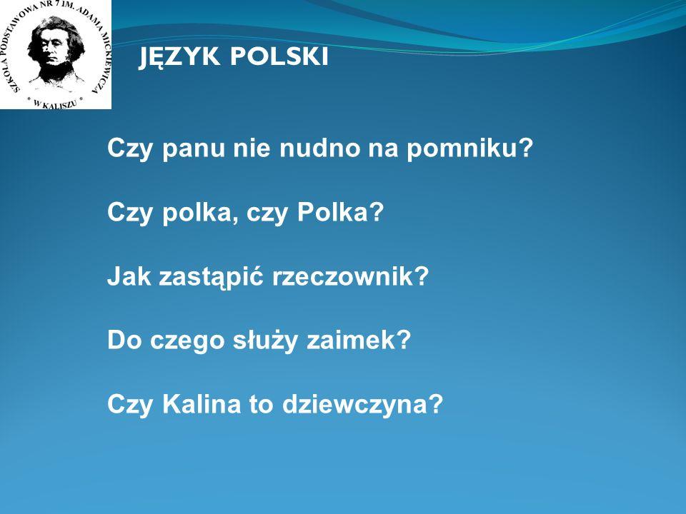 JĘZYK POLSKI Czy panu nie nudno na pomniku Czy polka, czy Polka Jak zastąpić rzeczownik Do czego służy zaimek