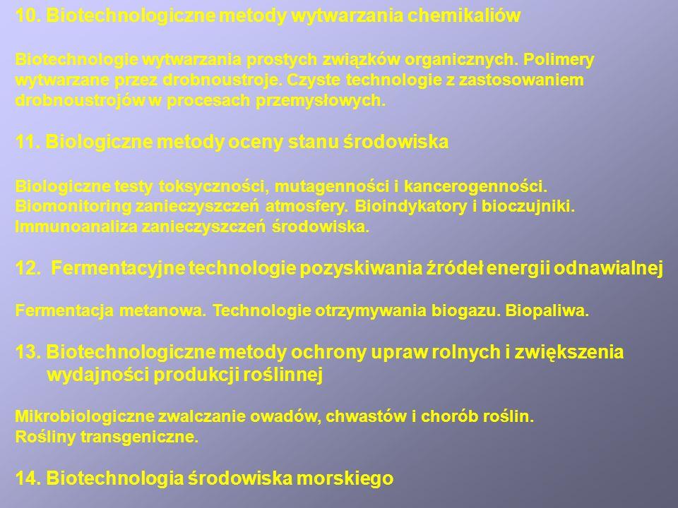 10. Biotechnologiczne metody wytwarzania chemikaliów