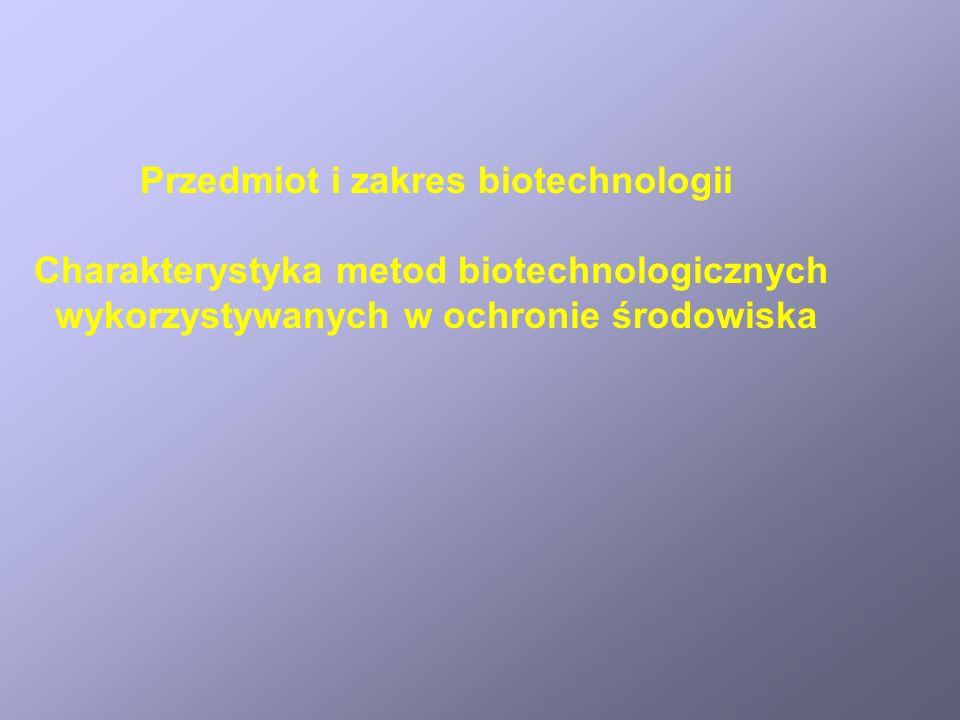 Przedmiot i zakres biotechnologii