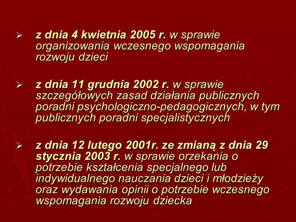 z dnia 4 kwietnia 2005 r. w sprawie organizowania wczesnego wspomagania rozwoju dzieci
