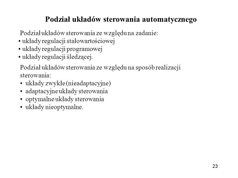 Podział układów sterowania automatycznego