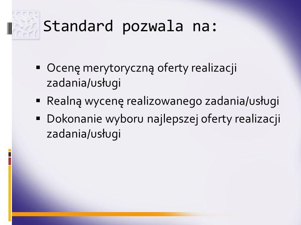 Standard pozwala na:Ocenę merytoryczną oferty realizacji zadania/usługi. Realną wycenę realizowanego zadania/usługi.