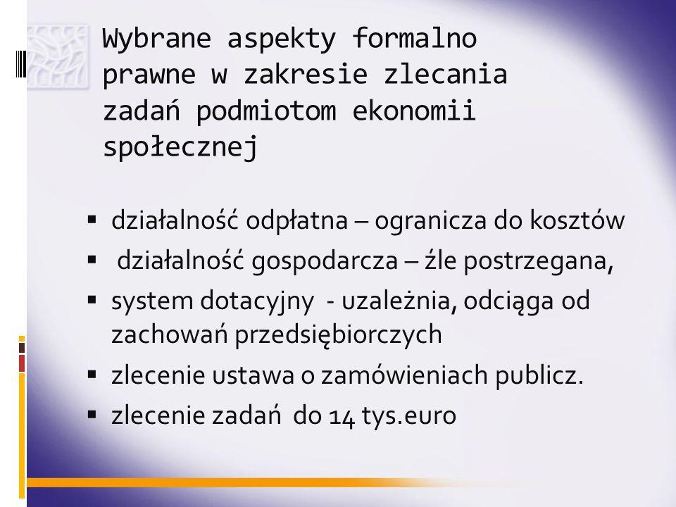 Wybrane aspekty formalno prawne w zakresie zlecania zadań podmiotom ekonomii społecznej